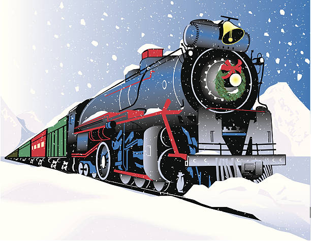 illustrations, cliparts, dessins animés et icônes de train de noël - train