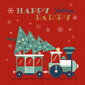 Happy holidays party fancy flat color vector poster. Comic retro steam Christmas train transport Christmas tree cartoon. Winter holiday greeting card. New Year event fun banner illustration background