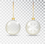Christmas transparent glass ball. Xmas glass bauble on transparent background. Holiday decoration template. Stocking Christmas decorations. Transparent vector object for design, mocap. Vector illustration.