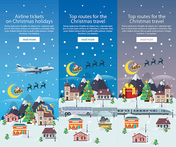 Christmas travel banners in flat style illustration. Traveling by train. vector art illustration