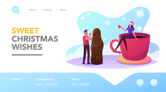 Christmas Treat and Beverage Landing Page Template. Tiny Male and Female Characters Eating Huge Chocolate Santa