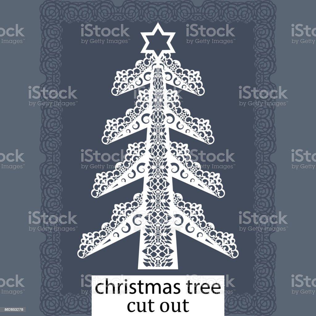 Ilustración de Árbol De Navidad Una Plantilla Para Corte Por Láser ...
