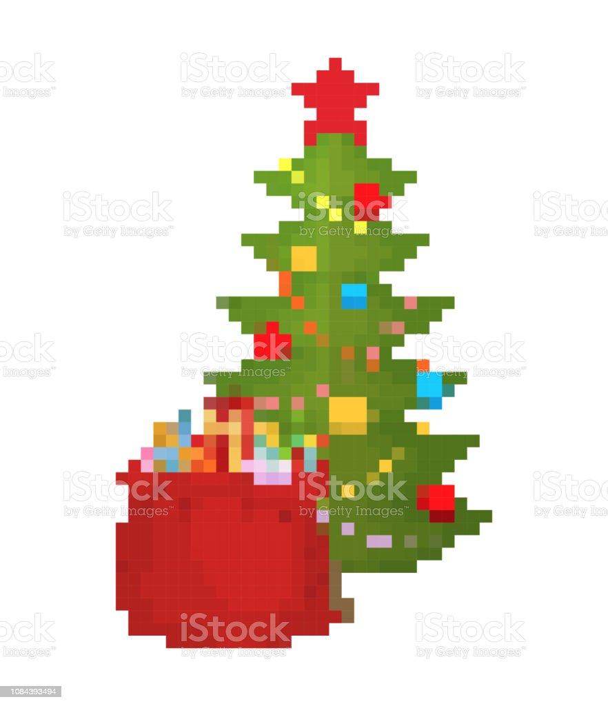 バッグ、クリスマス ツリーとサンタのピクセル アート。8 ビット赤袋のおもちゃや子供たちのお菓子。新年ゲーム古い学校 ベクターアートイラスト
