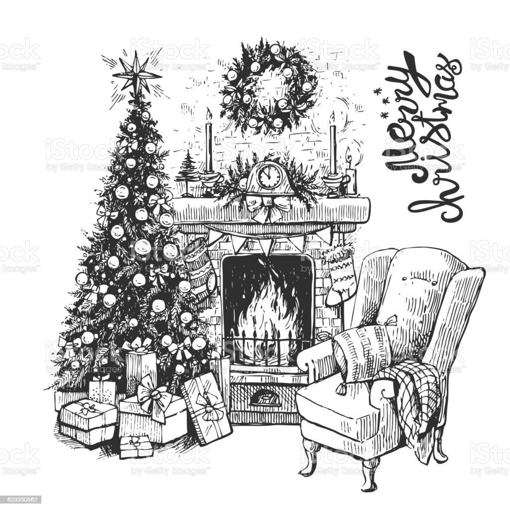 christmas tree and fireplace stock vector art 623350562 istock