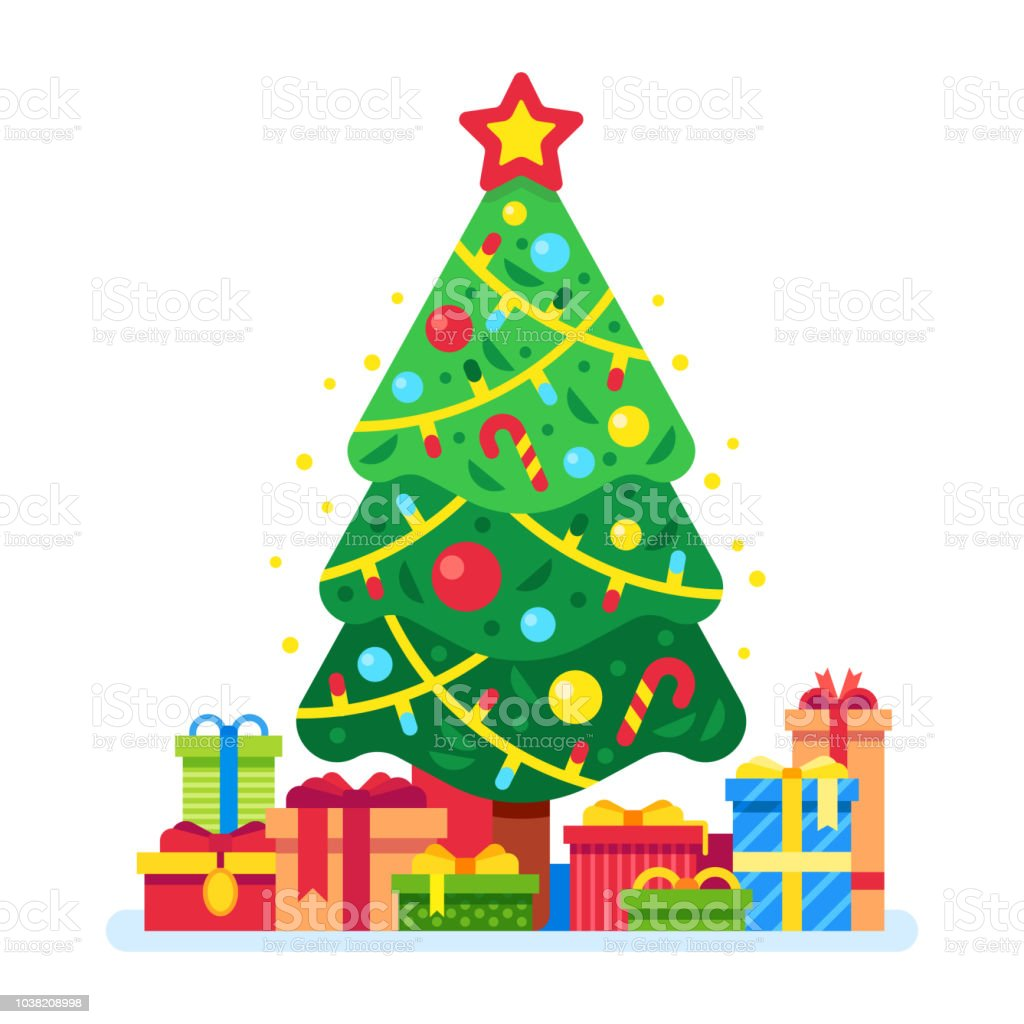 Presents Under The Christmas Tree: Christmas Tree And Gift Boxes Xmas Present Under Green Fir