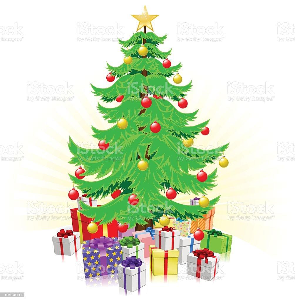 Weihnachtsbaum Und Geschenke Illustrationen Stock Vektor Art und ...