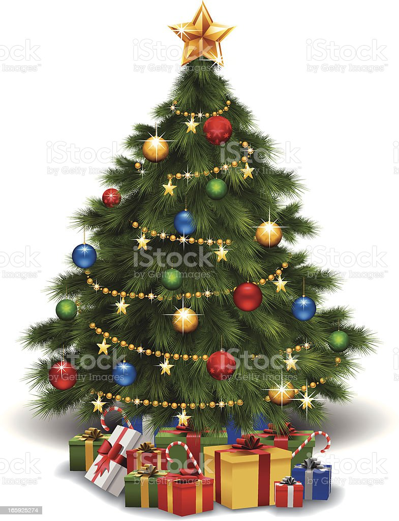 Christmas Tree and Gifts royalty-free stock vector art