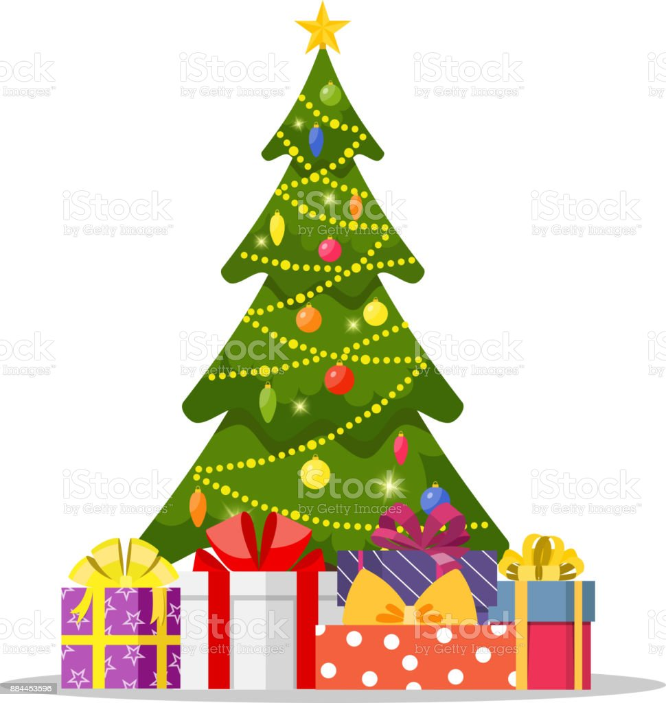 Christmas tree and holiday gifts. vector art illustration
