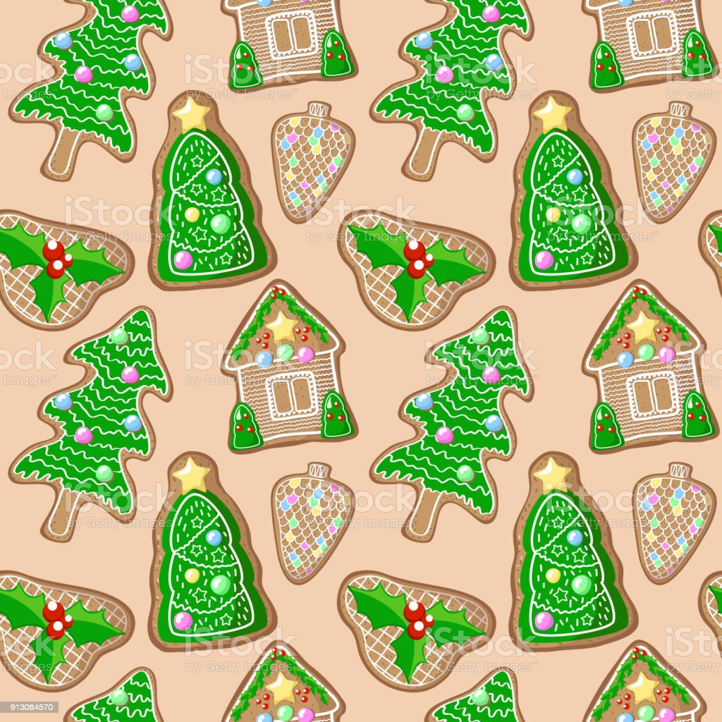 Christmas Tree And Holly Jolly Gingerbread Figurines Vector Pattern