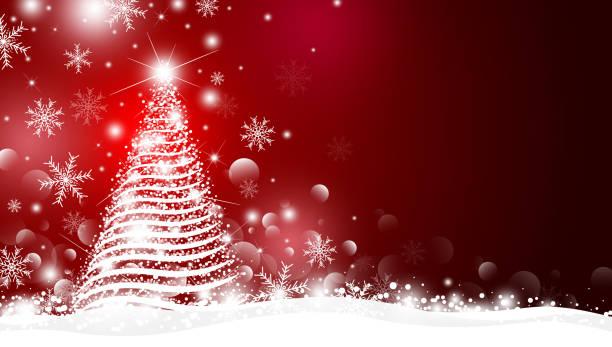 Weihnachtsbaum und Licht mit Bokeh-Design auf rotem Hintergrund Vektor-Illustration – Vektorgrafik