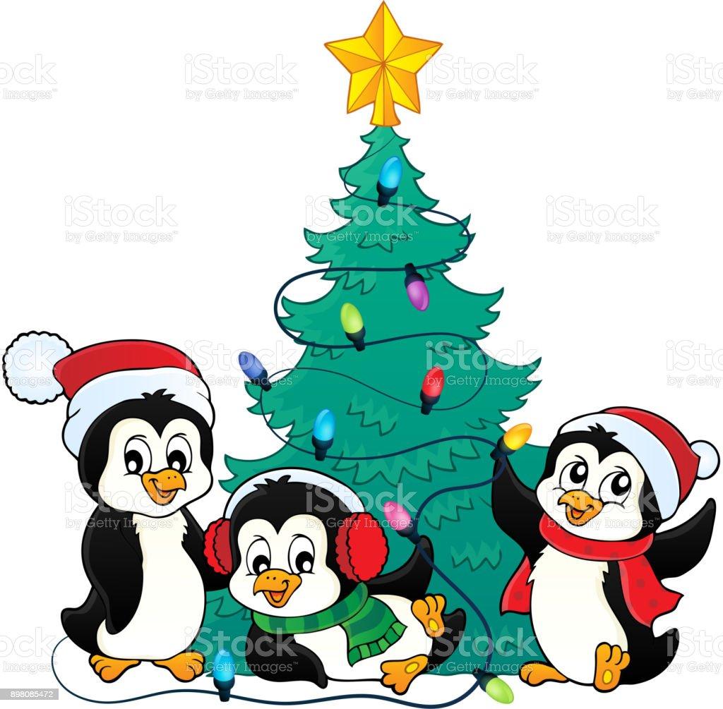 Weihnachtsbaum Und Pinguinebild 3 Stock Vektor Art und mehr Bilder ...
