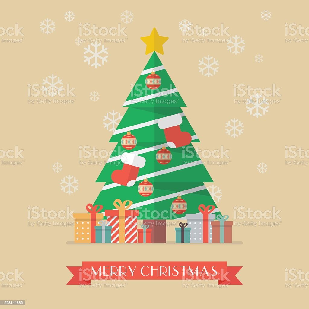 Christmas tree and presents vector art illustration