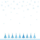 Christmas tree and snowflake background illustration