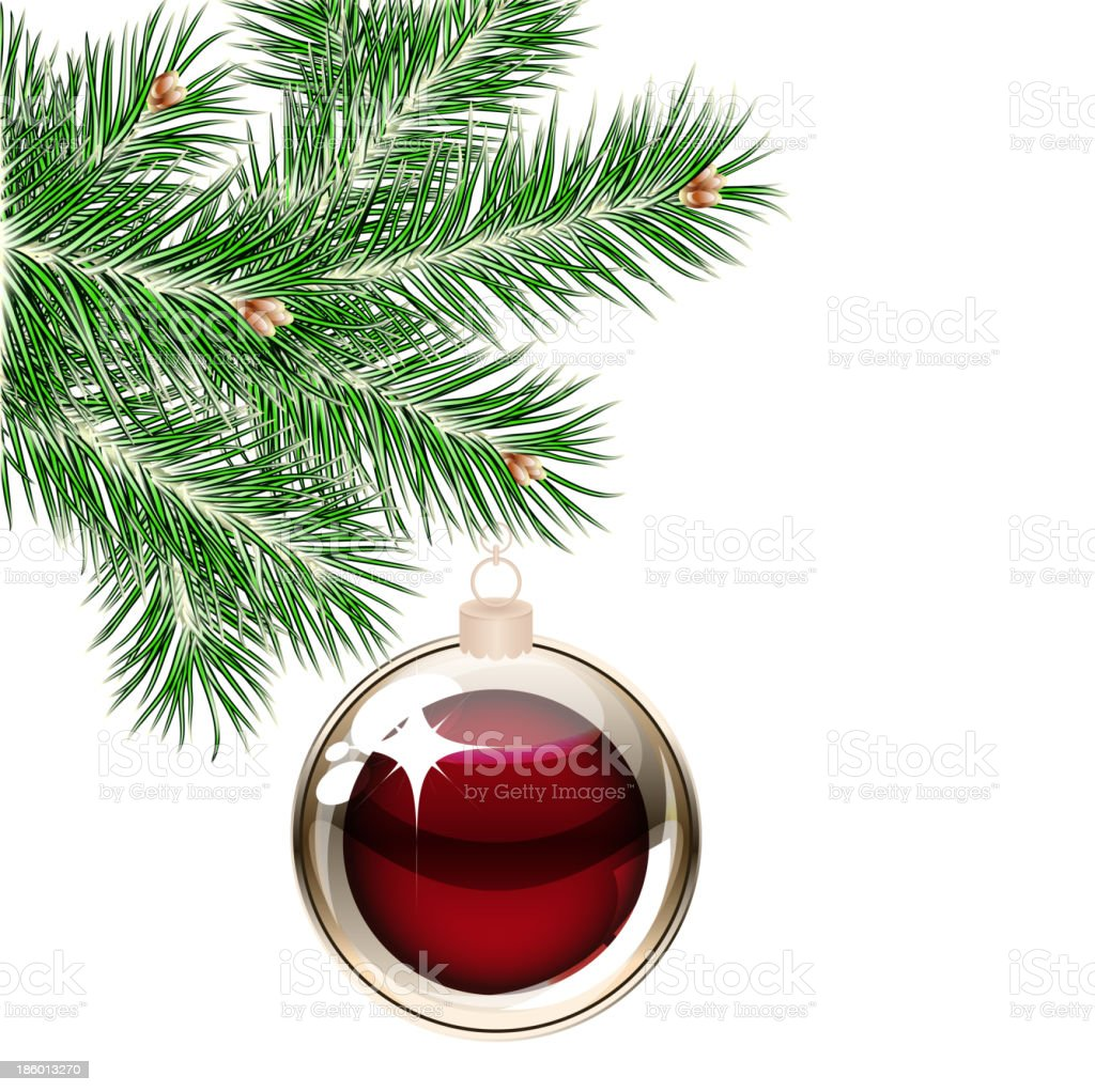 Christmas tree and transparent ball royalty-free stock vector art