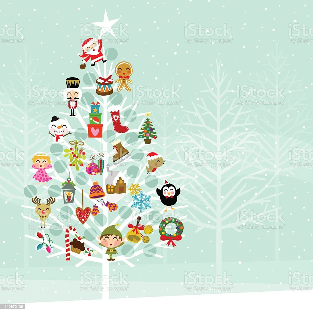 Christmas tree. Andvent calendar in the forest vector art illustration