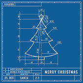 Christmas tree as technical blueprint drawing. Christmas technical concept. Mechanical engineering drawings. Christmas and new year banner, cover, poster, flyer or greeting vector card