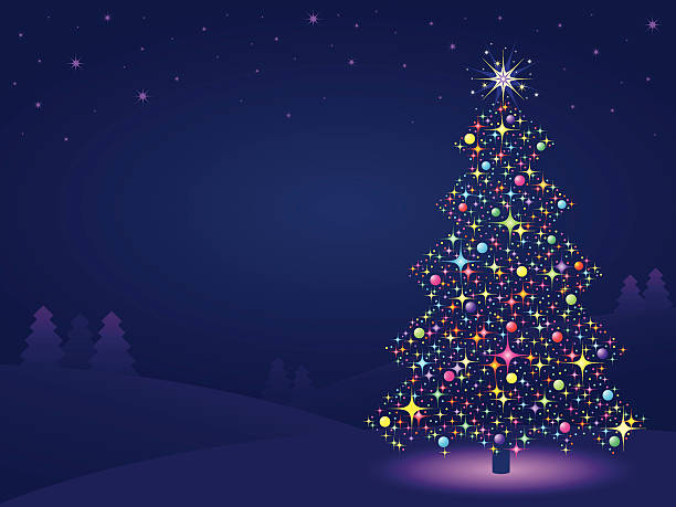 Best Background Of A Purple Christmas Tree Decorations Illustrations