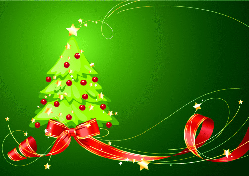 Christmas tree background with red ribbon on green