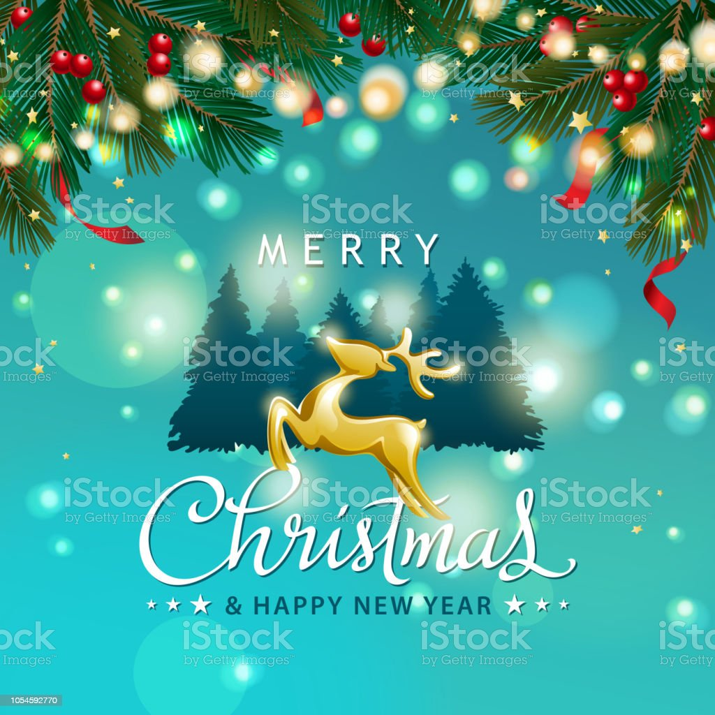 Christmas Tree Background With Reindeer Stock Vector Art More