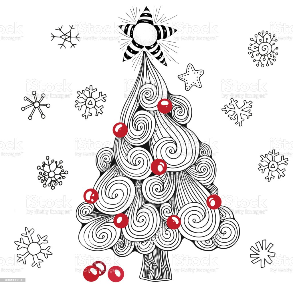 Christmas Tree Balls Star Pattern For Coloring Book Black White And Red Stock Illustration Download Image Now Istock