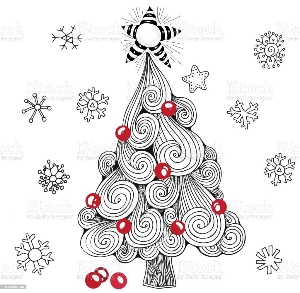 Weihnachtsbaum Schwarz Weiß.Weihnachtsbaum Kugeln Sterne Muster Für Malbuch Schwarz Weiß Und Rot