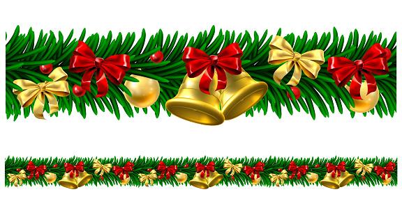 Christmas Tree Baubles Wreath Design Border