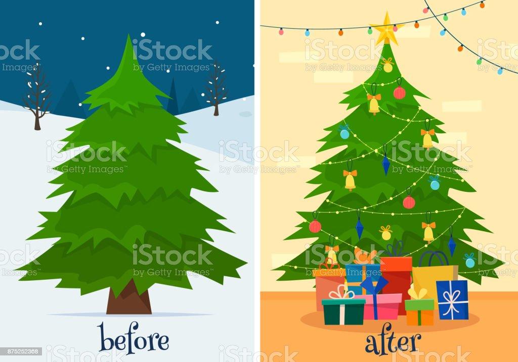 クリスマス ツリーの装飾の前後にモミの森とギフトとライトの部屋