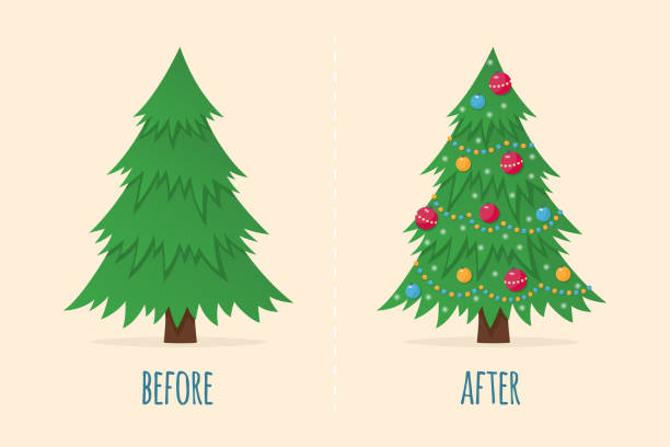 Christmas tree before and after. Happy holiday celebration. Happy new year symbol. Christmas tree before and after. Happy holiday celebration. Happy new year symbol. Vector illustration in flat and cartoon style christmas trees stock illustrations