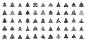Christmas Tree flat glyph icons set. Xmas symbol, simple pictogram collection. Winter season design element. New year silhouette black sign. Isolated on white xmas icon concept vector illustration
