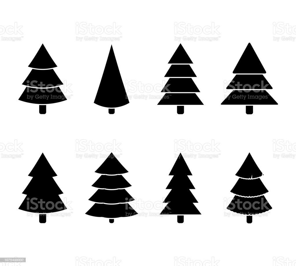 Weihnachtsbaum Schwarz.Weihnachtsbaum Schwarz Weiß Set Abbildung Vektor Stock Vektor Art