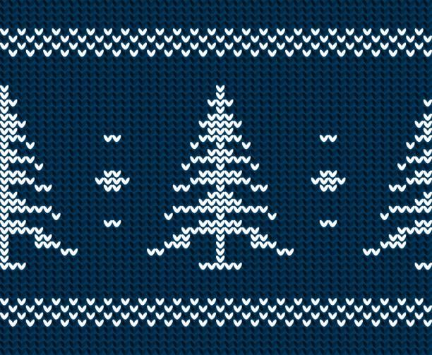 Christmas tree - blue knitted texture seamless pattern vector art illustration