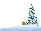 Vector illustration of a beautiful Christmas tree with a bullfinch and a gift, border isolated on a white background.