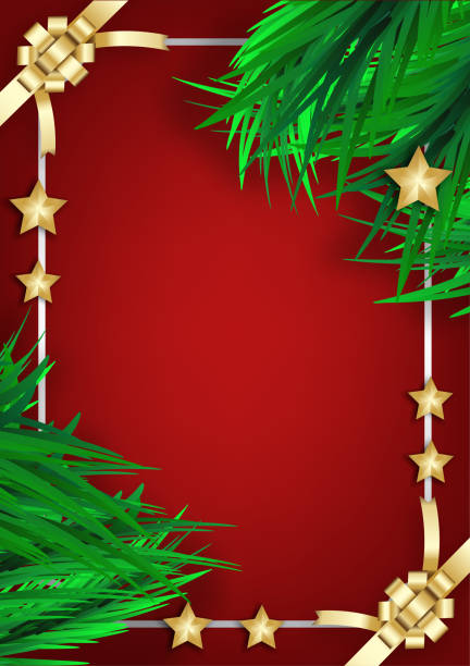 Weihnachtsbaum Grenze mit Urlaub Dekor auf rotem Hintergrund – Vektorgrafik