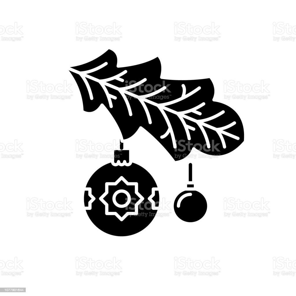 Symbol Weihnachtsbaum.Weihnachtsbaum Zweig Schwarze Symbol Vektorzeichen Auf Isolierte Hintergrund Weihnachtsbaum Abzweigsymbol Konzept Illustration Stock Vektor Art Und