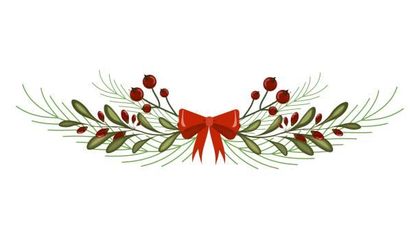christmas tree branch decoration frame divider holiday garland. - gałązka stock illustrations