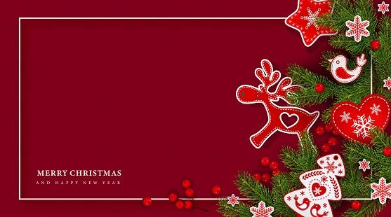 Christmas tree branch, holly berries, deer, heart, bird, snowflakes, background