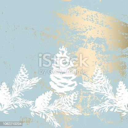Christmas tree branch painting vector fashion banner. Trendy Pastel blue white gold botanical winter pattern
