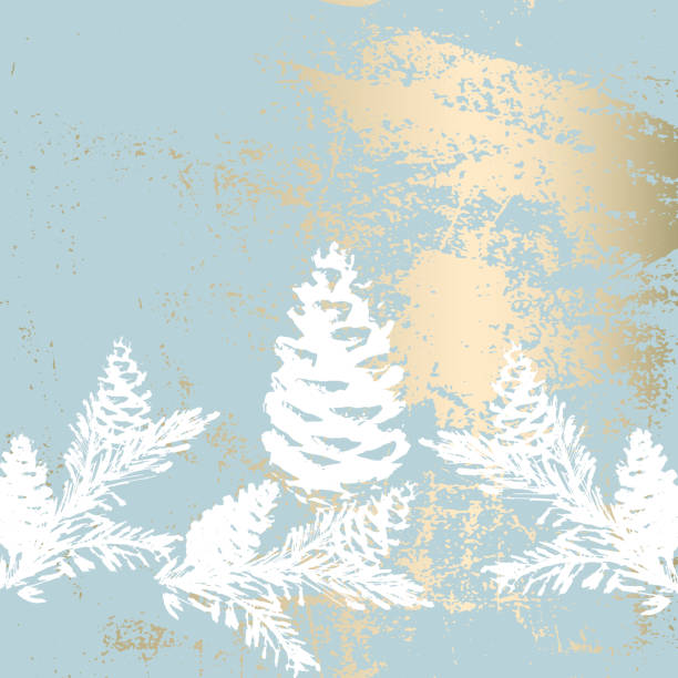 Christmas tree branch painting vector fashion banner. Christmas tree branch painting vector fashion banner. Trendy Pastel blue white gold botanical winter pattern winter stock illustrations