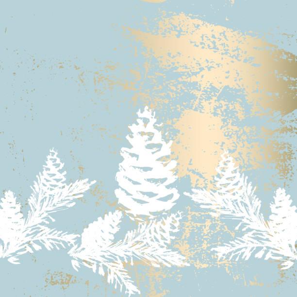 illustrations, cliparts, dessins animés et icônes de arbre de noël branche peinture vectorielle mode bannière. - winter