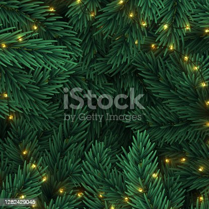 Christmas tree branches. Frame of green branch of pine and gold string garland lights. Festive Xmas border. pine branches, tree branches, fir coniferous branches