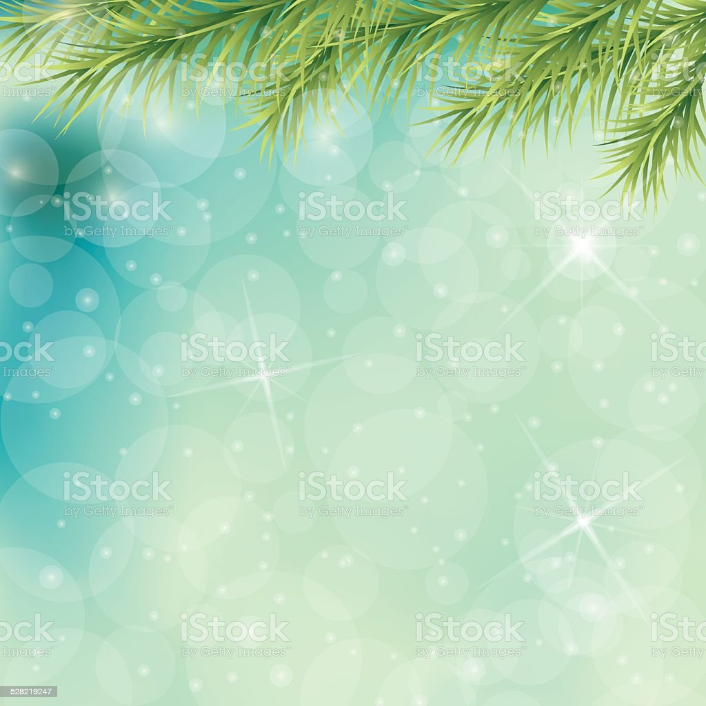 Christmas Tree Branches On Blue Background