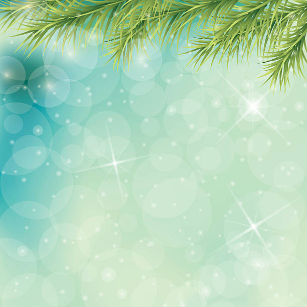 Christmas Tree Branches On Blue Pastel Background With Sparkling Lights Christmas Tree Branches On Blue Green Pastel Background with Sparkling Lights and bokeh. backgrounds clipart stock illustrations