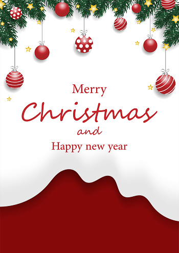 Christmas tree branches with Christmas decorations balls, Gold stars on snow-white shape, and red background.