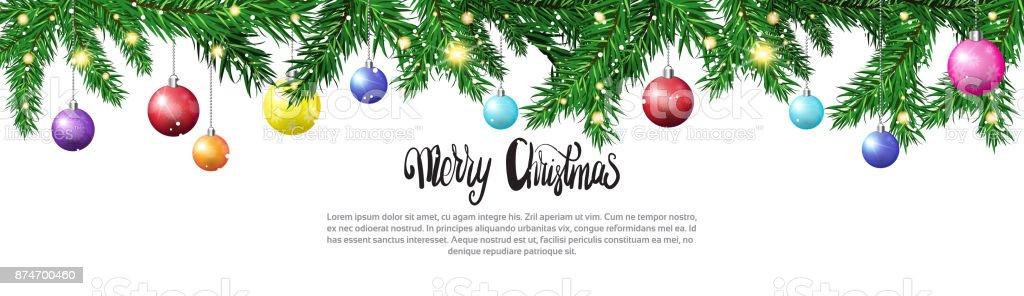 Ilustración de Ramas De Los árboles De Navidad Con Bolas De Colores ...