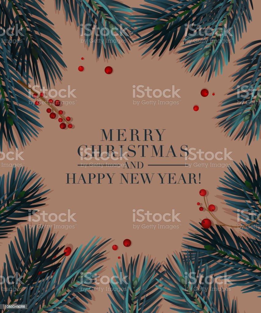 Ilustración De Ramas De Los árboles De Navidad Con Frutos
