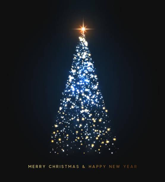 stockillustraties, clipart, cartoons en iconen met kerstboom brandt met felle lichten, sprankelende sparkles. sparkle magische xmas boom licht. wenskaart merry christmas en happy new year. vector illustratie - kerstboom
