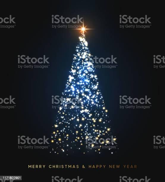 Weihnachtsbaum Brennt Mit Hellen Lichtern Funkelnde Funkelnde Funkelnde Funkeln Magische Xmas Baum Licht Grußkarte Frohe Weihnachten Und Frohes Neues Jahr Vektorillustration Stock Vektor Art und mehr Bilder von 2020