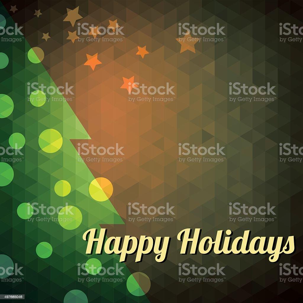 Christmas tree card cube design vector art illustration