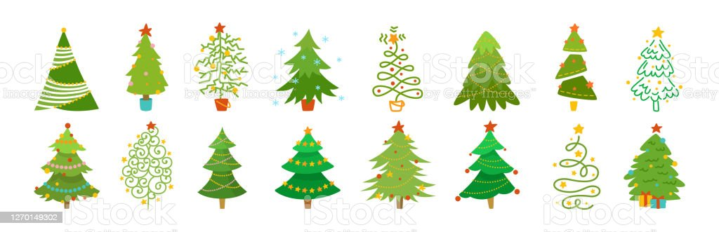 Christmas Tree Cartoon Set Xmas Flat Vector Stock Illustration Download Image Now Istock Santa claus winter holiday decorated living room with fireplace and xmas tree cartoon vector. christmas tree cartoon set xmas flat vector stock illustration download image now istock