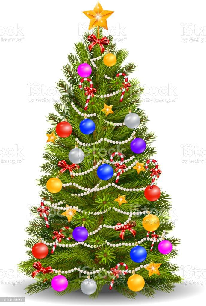 Weihnachtsbaum Comic.Weihnachtsbaum Comic Mit Bunten Verzierungen Stock Vektor Art Und